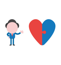 businessman character with connected heart jigsaw vector image
