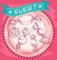 Candy sketch Vintage Poster Pink and blue vector
