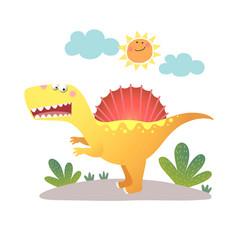 Cartoon spinosaurus dinosaur vector