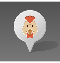 Chicken pin map icon Animal head vector