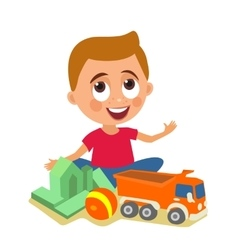 Child plays with toys flat color vector