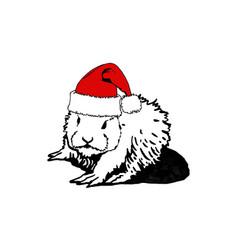 Christmas bunny rabbit in santa claus hat vector