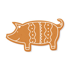 Christmas gingerbread cookie figure pig vector