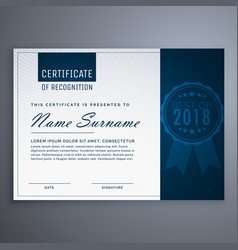 Clean blue certificate of appreciation template vector