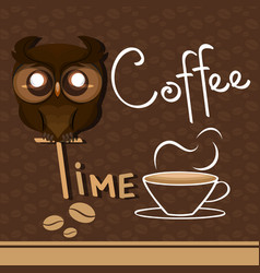 coffee time owl vector image
