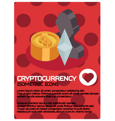 cryptocurrency color isometric poster vector image