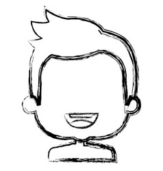 Cute boy shirtless avatar character vector