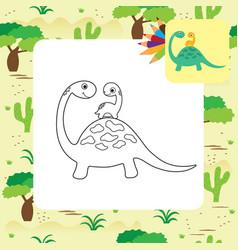 Cute cartoon dino coloring page vector