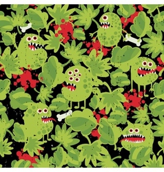 Cute monsters in the grass seamless pattern vector
