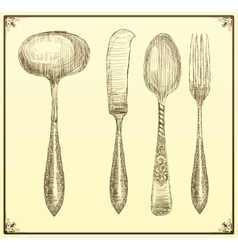 Cutlery set Doodle style vector image