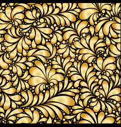 damask teardrop gold ornament seamless pattern vector image