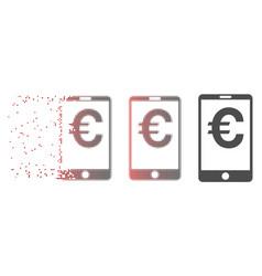 destructed pixel halftone euro mobile balance icon vector image