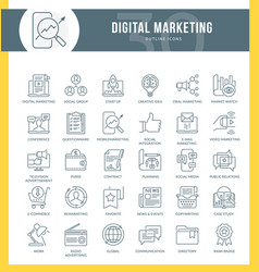 digital marketing outline icons vector image