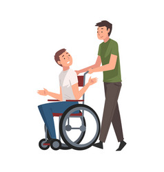 Disabled man in wheelchair walking with his friend vector