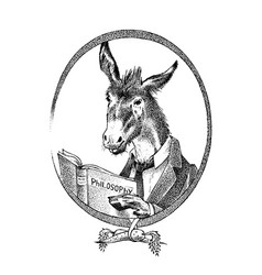 Donkey philosopher character or goat thinker hand vector