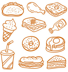 Doodle of food and drink style vector
