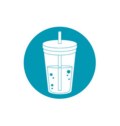 drinks disposable cup beverage with cap and straw vector image