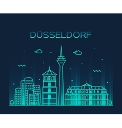 Dusseldorf skyline linear vector