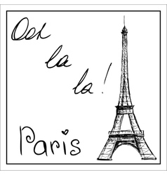 Eiffel Tower The word Paris On a white vector image