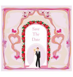 elegant wedding invitation with wedding couple vector image