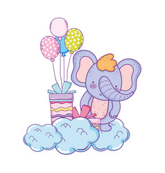 elephant with gifts and balloons helium vector image