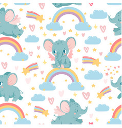Elephants on rainbow seamless pattern magic vector