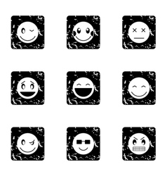 Emoticons for chatting icons set grunge style vector