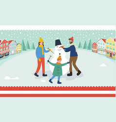 family sculpts snowman building winter character vector image