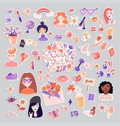 Feminist and cute girl power sticker vector