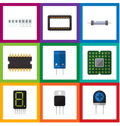 Flat icon appliance set of mainframe memory vector
