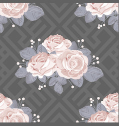 floral seamless pattern roses with leaves on grey vector image
