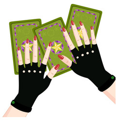 Fortune-tellers hand holding tarot cards vector