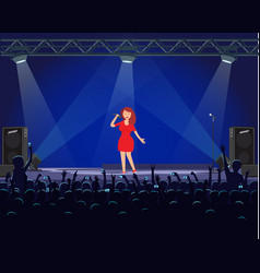 girl singing on stage fans recording show vector image