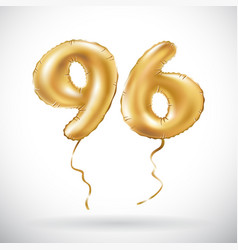 Golden number 96 ninety six metallic balloon vector