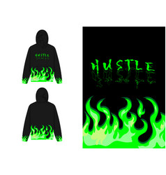 Green fire on dark and cool background vector