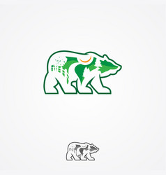 green landscaping studio icon forming a bear vector image