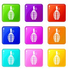 Grenade icons 9 set vector