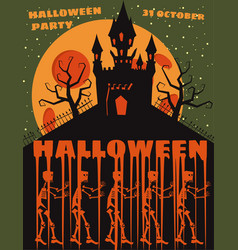 halloween background with semetery and sceletons vector image