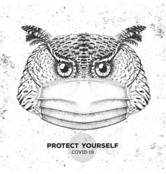 Hand drawing bird owl wearing face medical mask vector
