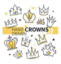 hand drawn crowns collection - set vector image