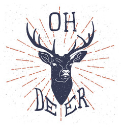 hand drawn vintage label with textured deer vector image