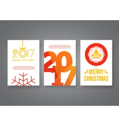 Happy new year 2017 and Merry Christmas modern vector
