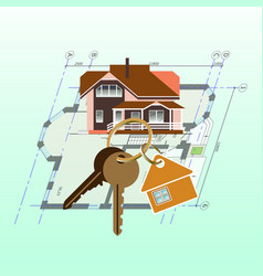 house keyring with keys on house plan background vector image