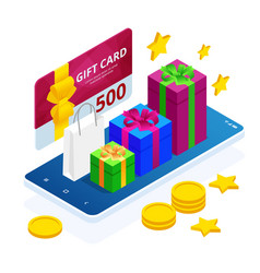 Isometric gift voucher and online shopping app vector