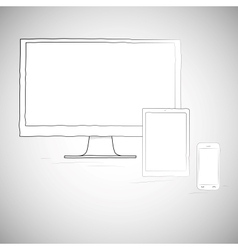 Laptop mobile phone and tablet electronic devices vector