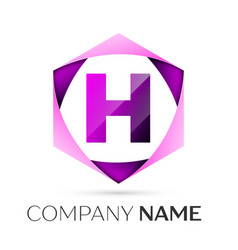 Letter h symbol in the colorful hexagonal vector