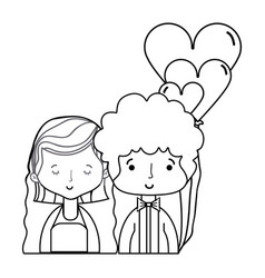 Line beauty couple married with hairstyle design vector