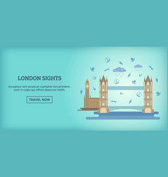 London buildings banner horizontal cartoon style vector