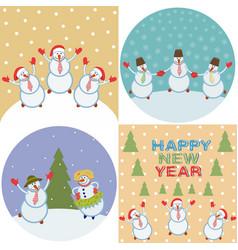 merry happy snowmen vector image