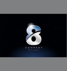 Metal blue number 8 logo company icon design vector